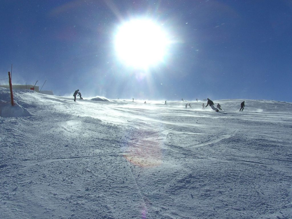 Skiers on the slopes of Tignes, France.