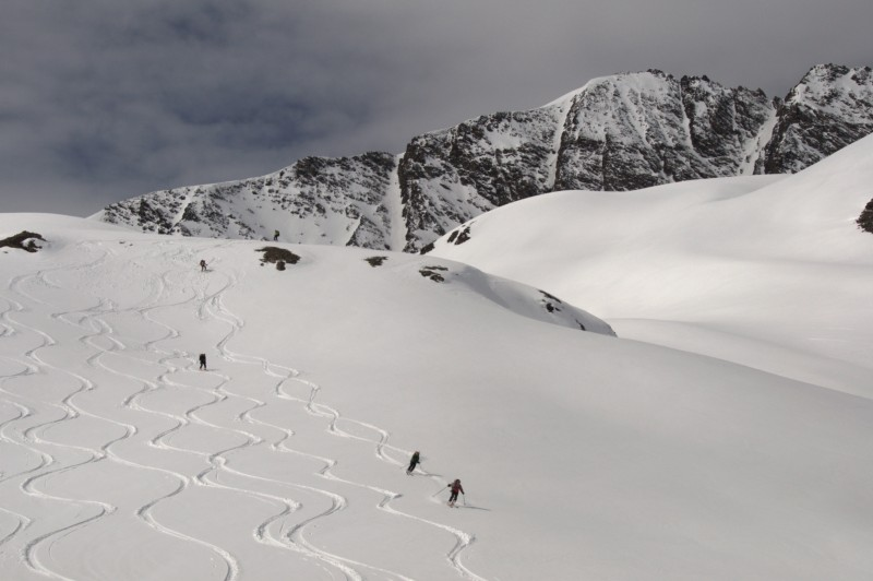 People skiing in the French resort of Val D'Isere