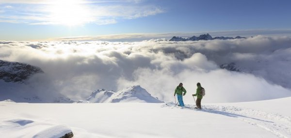 Two skiers on a mountain, Alpe d'Huez